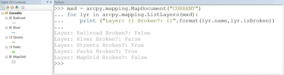 Python code snippet to find broken data sources in ArcMap