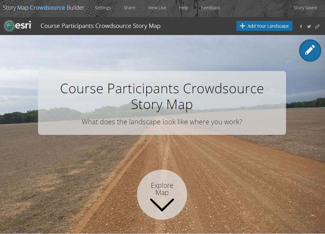 Crowdsource story map - front screen