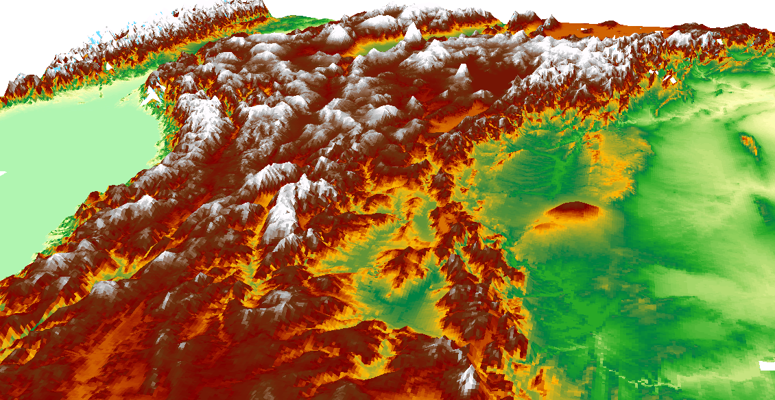 View of SRTM data for Turkey