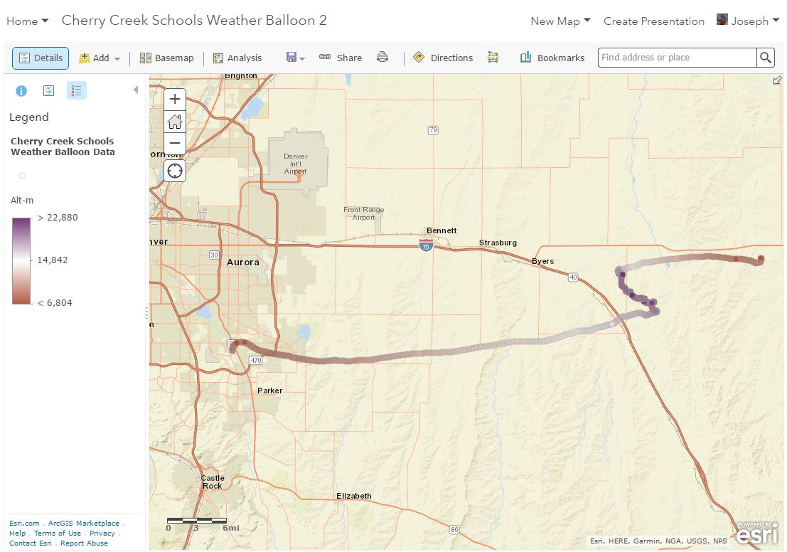 Cherry Creek School District Balloon Map in 2D