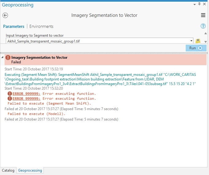 "This is the error which I am facing while using the tool ""Segmentation to vector"""