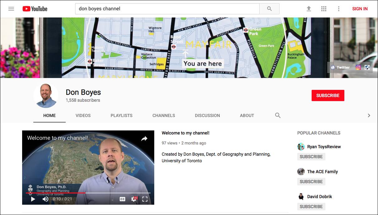 "Don Boyes's YouTube channel, where he shares self-produced video demonstrations to support his ""flipped classroom"" approach."