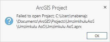 ArcGIS Pro Fail to open project error
