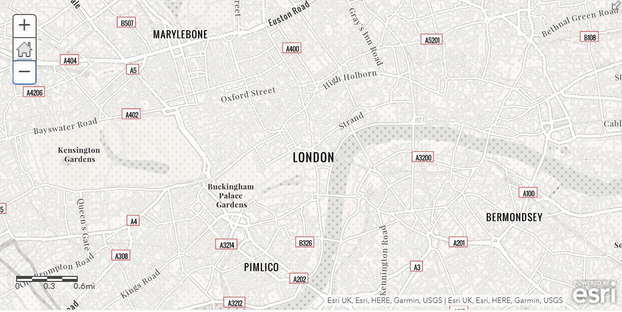 The newspaper base map, showing central London.