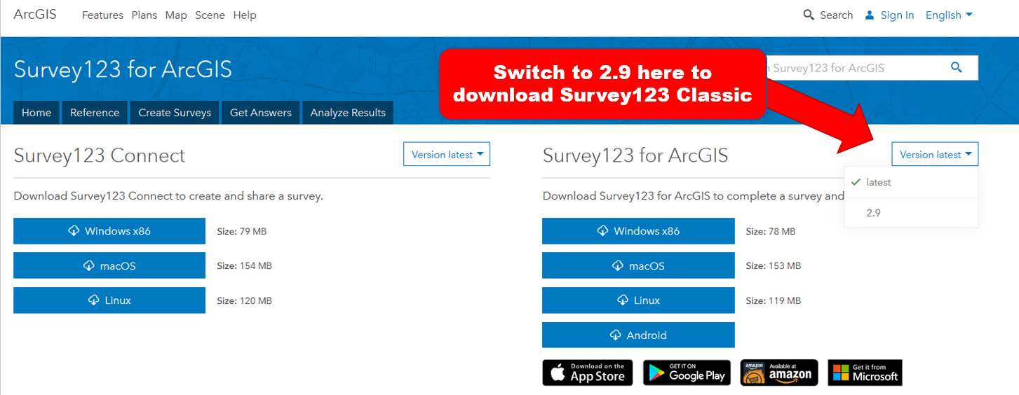 Survey123 Classic Download Page