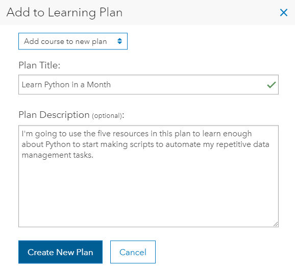 Add to Learning Plan dialog with plan title and description