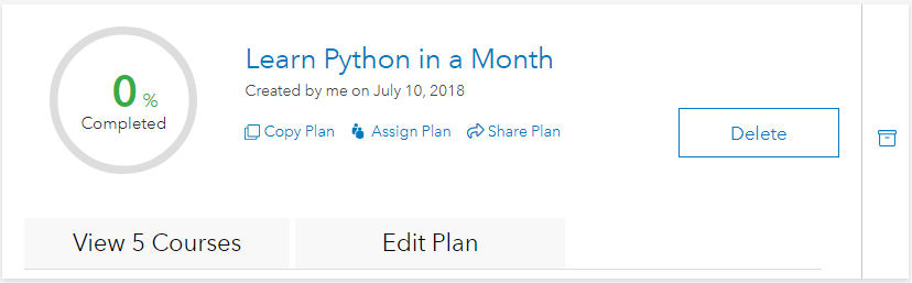 New learning plan on My Learning Plans page