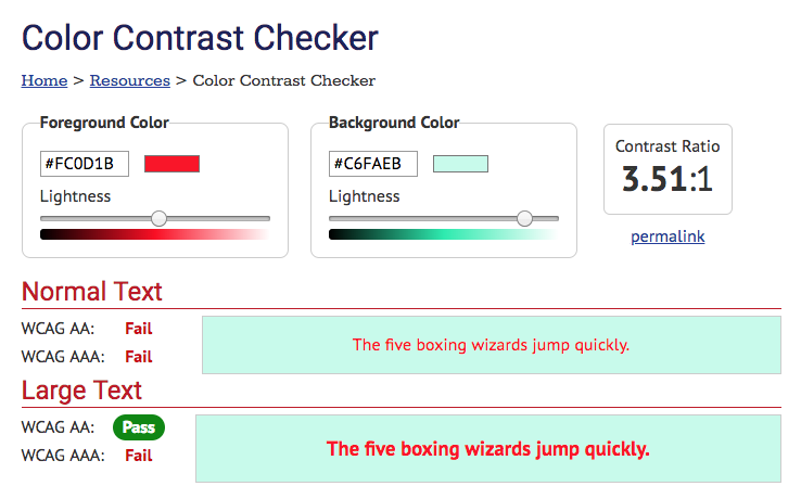 WebAIM color contrast checker showing failed ratio