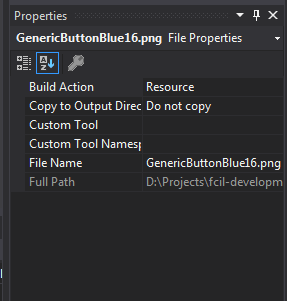 The image shows a screen shot of the Properties Window of Visual Studio 2017