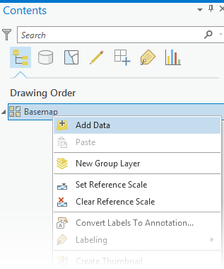 Basemap context menu in ArcGIS Pro Contents pane