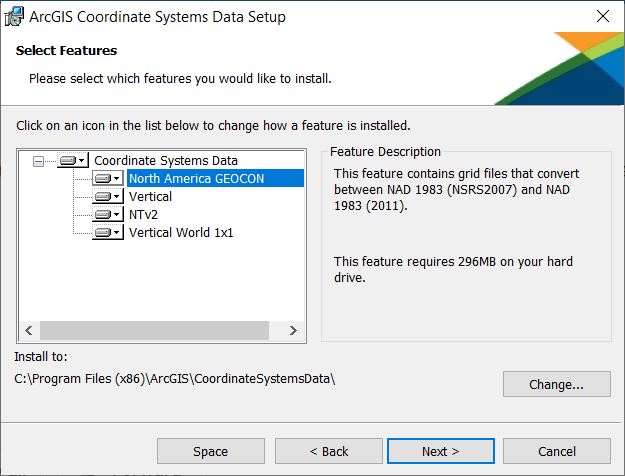 ArcGIS Desktop 10.7 Coordinate Systems install dialog
