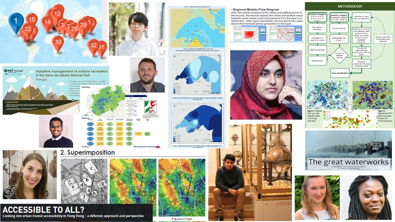Collage of a sample of the 2019 Esri Young Scholars fine work.
