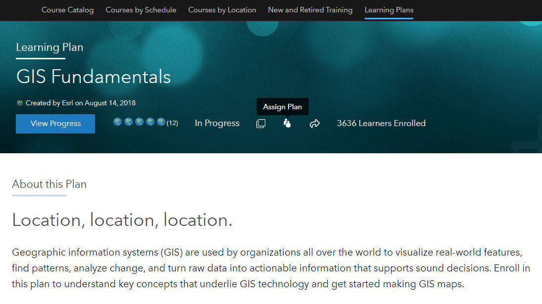 The GIS Fundamentals Esri learning plan page