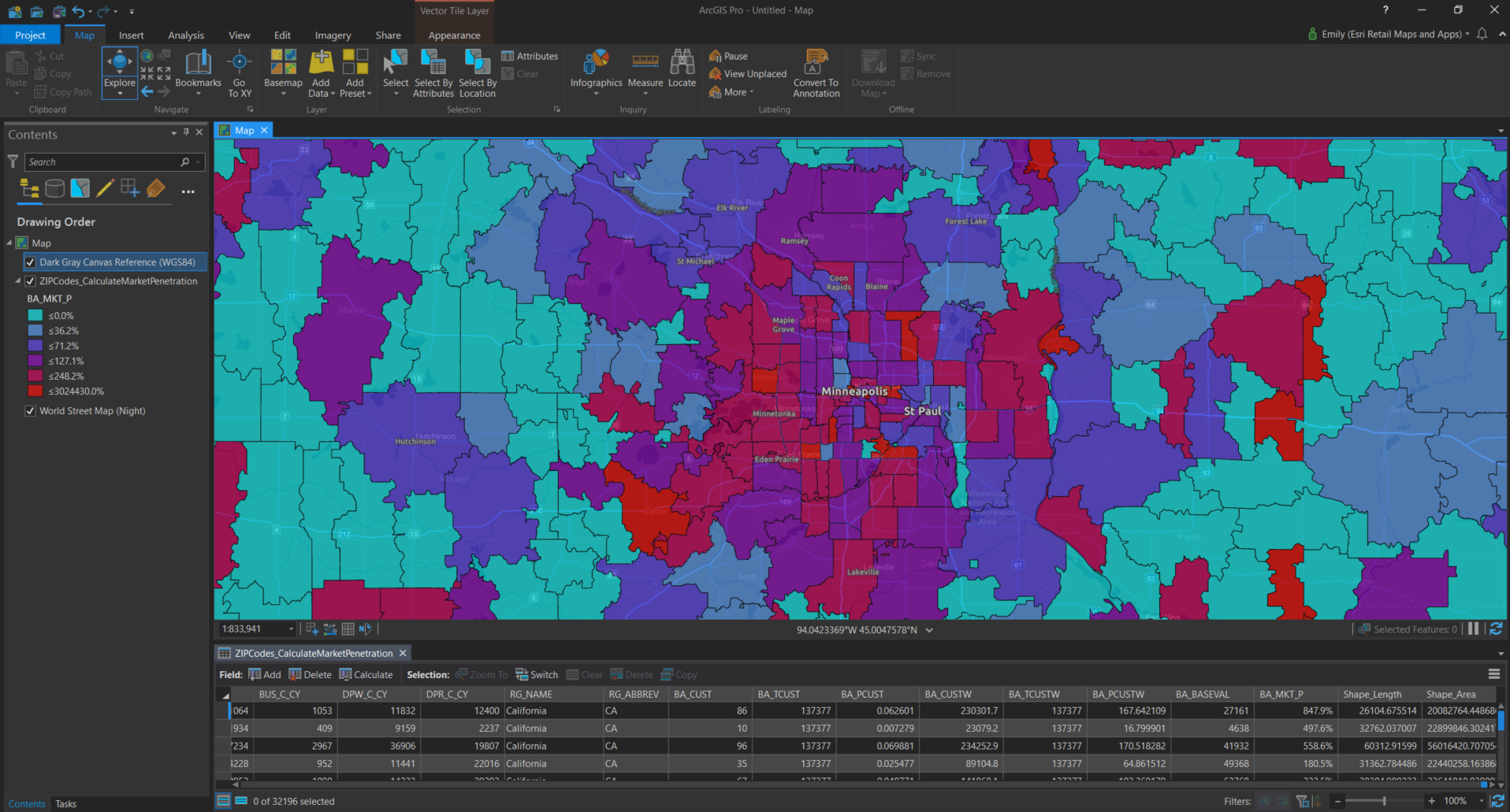 A Market Penetration layer calculated using population of zip codes compared to a point layer of customer data and weighted using their spending totals. This helps us see areas where we have more saturation (red) and areas where we have gaps in our market (shades of blue and purple).