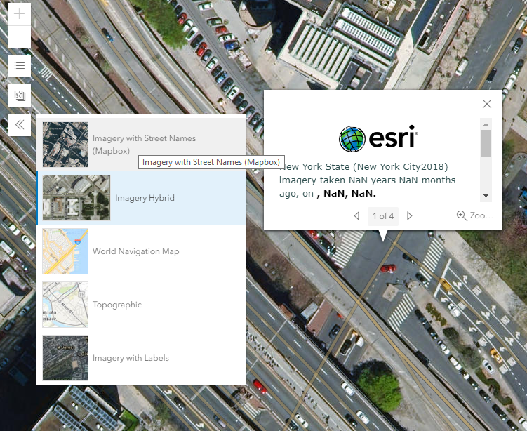 "basemap gallery with rectangular thumbnail next to square thumbnails, and esri basemap popup reading ""New York State (New York City2018) imagery taken NaN years NaN months ago, on , NaN, NaN. """
