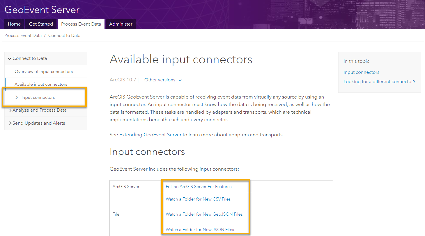 Example of new input connector documentation landing page.