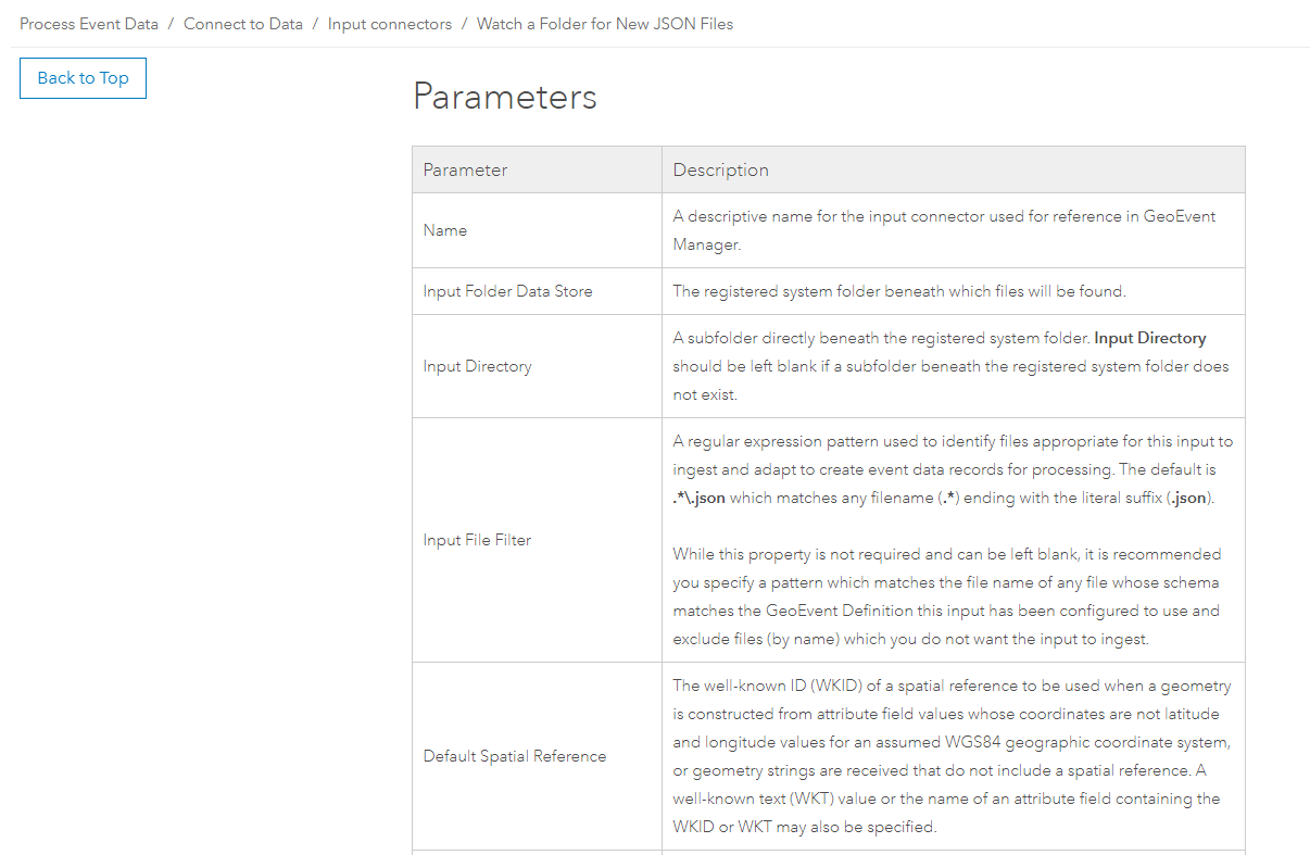 Example of parameters and descriptions in the new connector documentation.