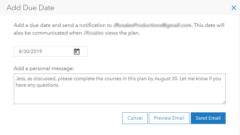 Custom learning plan invitation email