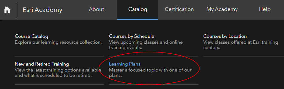 Esri Training Catalog menu with Learning Plan callout