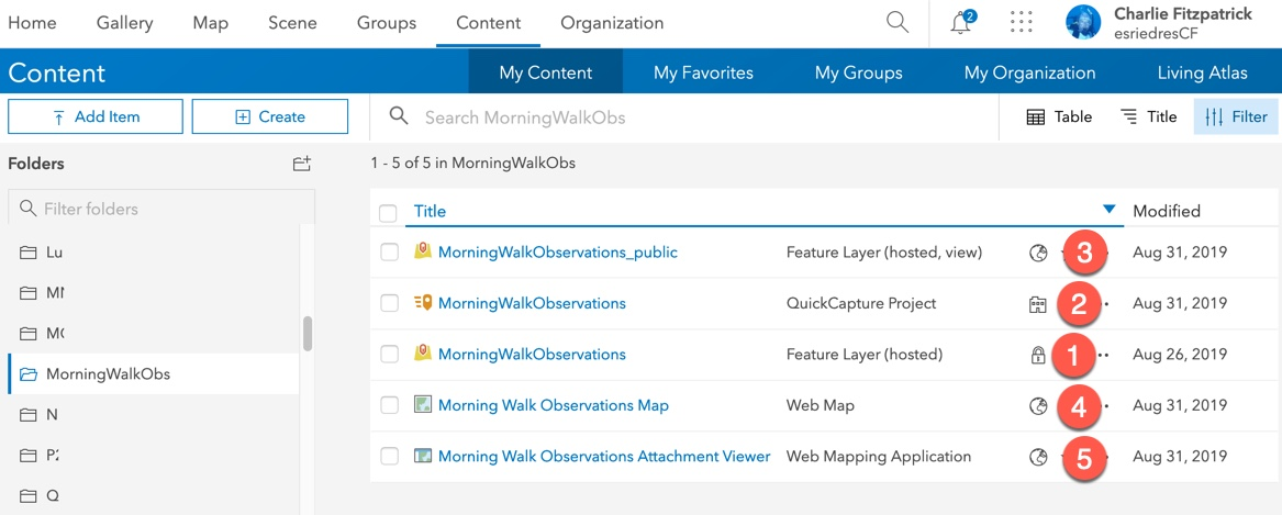ArcGIS Online contents of the project