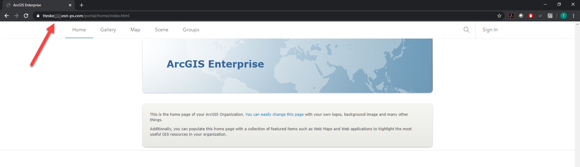 ArcGIS Portal homepage with arrow pointing to URL