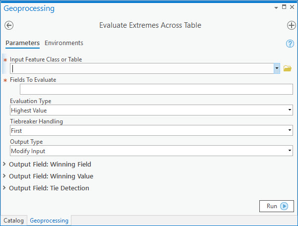 "A Screenshot of the ""Evaluate Extremes Across Table"" Tool"