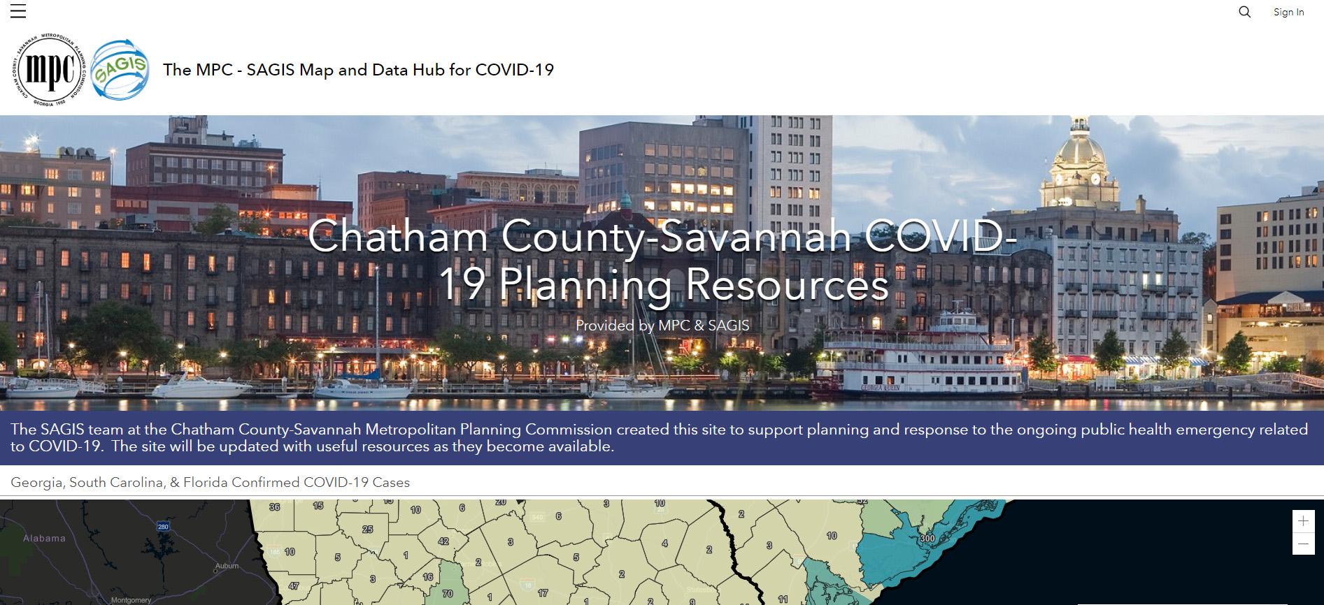 SAGIS ArcGIS Hub for COVID-19