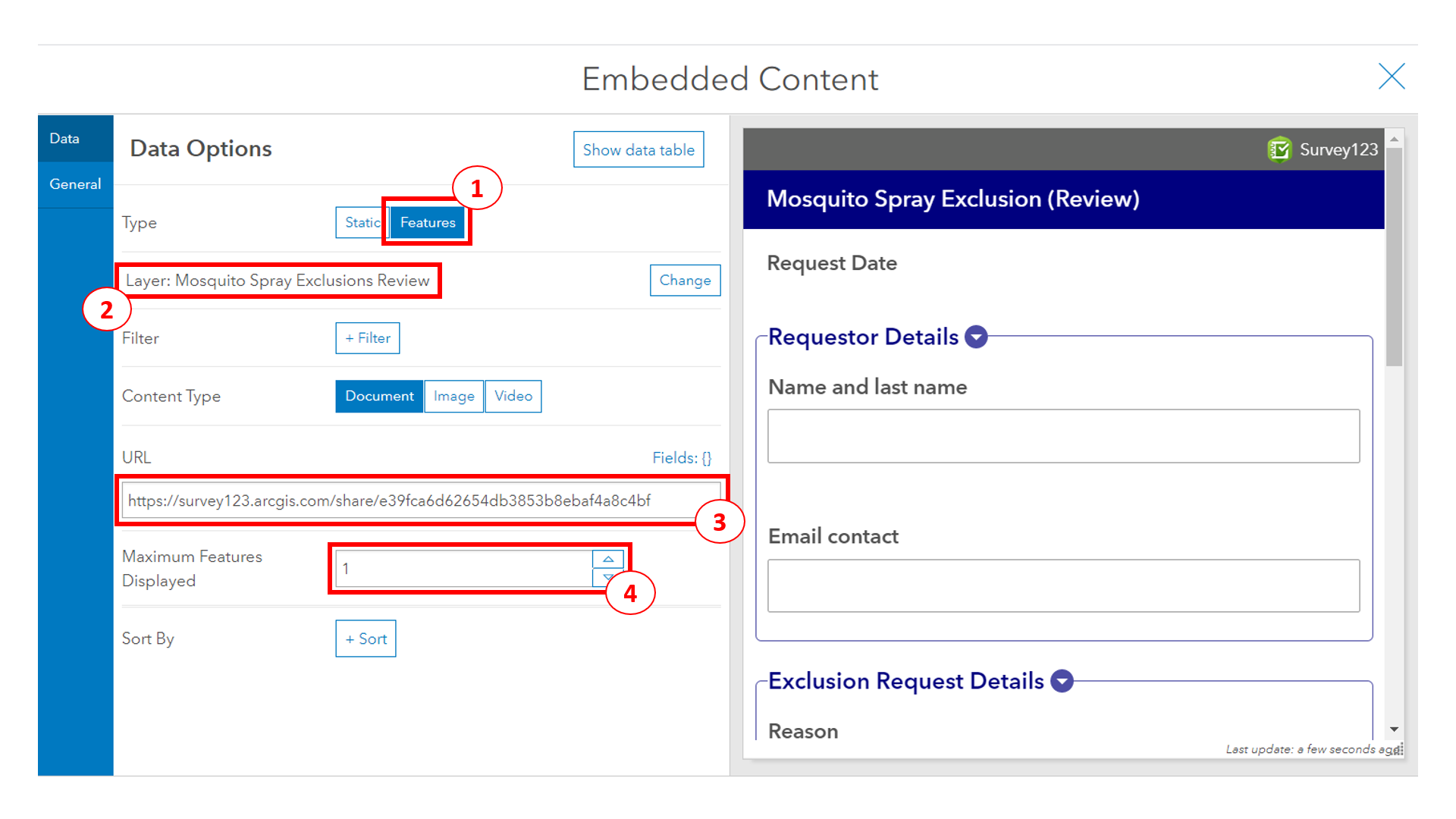 Configuring embedded content element in the dashboard (1)