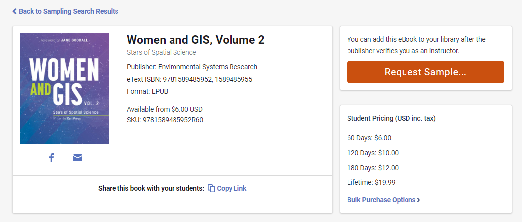 A screenshot of Women and GIS, volume 2 in VitalSource. There is an orange button saying Request Sample on the right side.