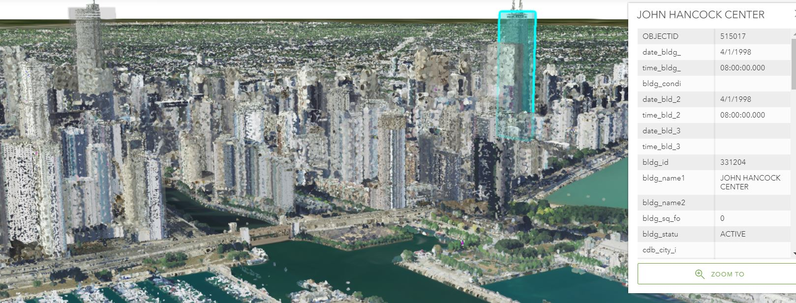Chicago Skyline showing 3D basic buildings