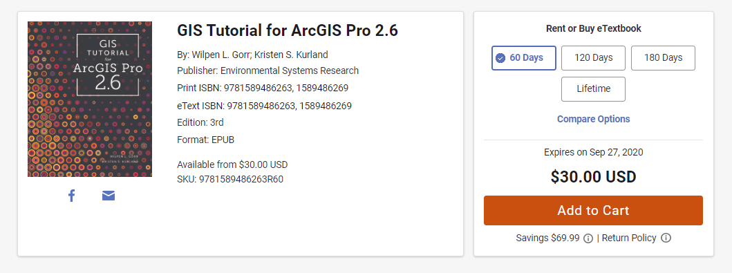 A screenshot of GIS Tutorial for ArcGIS Pro 2.6. The right side of the image shows three rentals pricing options and a lifetime purchase option.