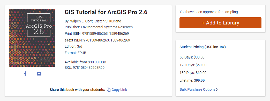 A screenshot of GIS Tutorial for ArcGIS Pro 2.6. In the sampling portal, rental pricing is displayed on the right side under the button for adding the book to your library.