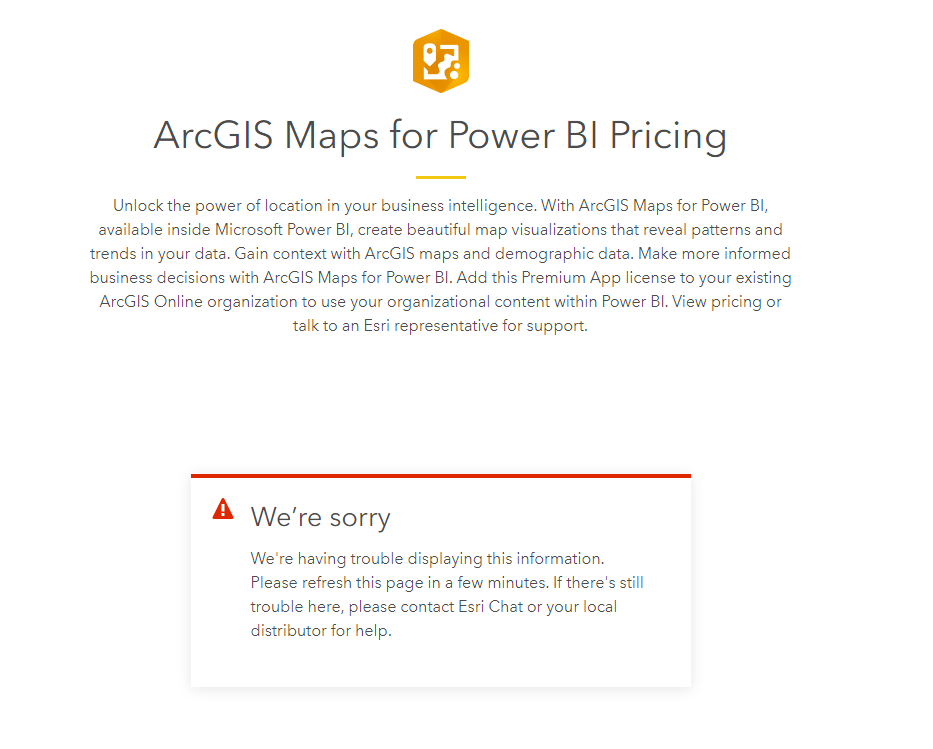 Arcgis maps for power bi pricing page not working