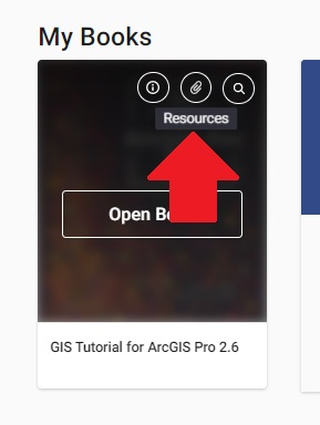 Another screenshot of GIS Tutorial for ArcGIS Pro 2.6 shows the attachment icon when hovering the clicker over the cover image.