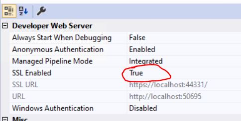 enabled ssl in developer web server of Visual Studio