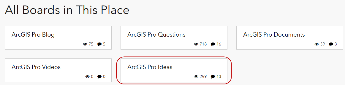 "A screenshot showing the available question boards for ArcGIS Pro in the updated GeoNet Esri Community. Highlighted is the link to ""ArcGIS Pro Ideas"" which indicates that ArcGIS Pro is accepting ArcGIS Ideas through this Idea Exchange."