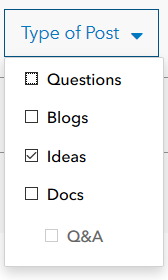 "A screenshot showing the ""Type of Post"" filter which is available when searching GeoNet, the Esri Community. If the ""Ideas"" toggle is selected, your search results will only return ArcGIS Ideas content."
