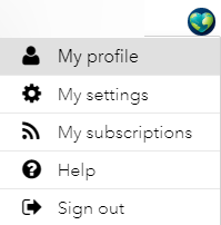 "A screenshot showing the ""My Profile"" option available in The Esri Community. Clicking on this will take you to your profile page, where a ""My Ideas"" section will let you know more about the idea you have submitted or participated in."