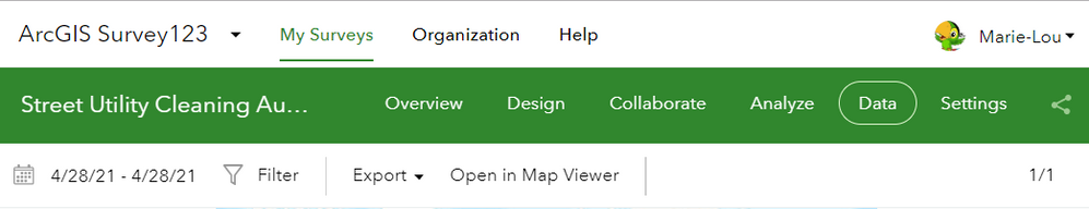 Survey where data doesn't open
