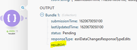 """resultURL is empty. """"Status"""" here reflects the status of the feature service"""