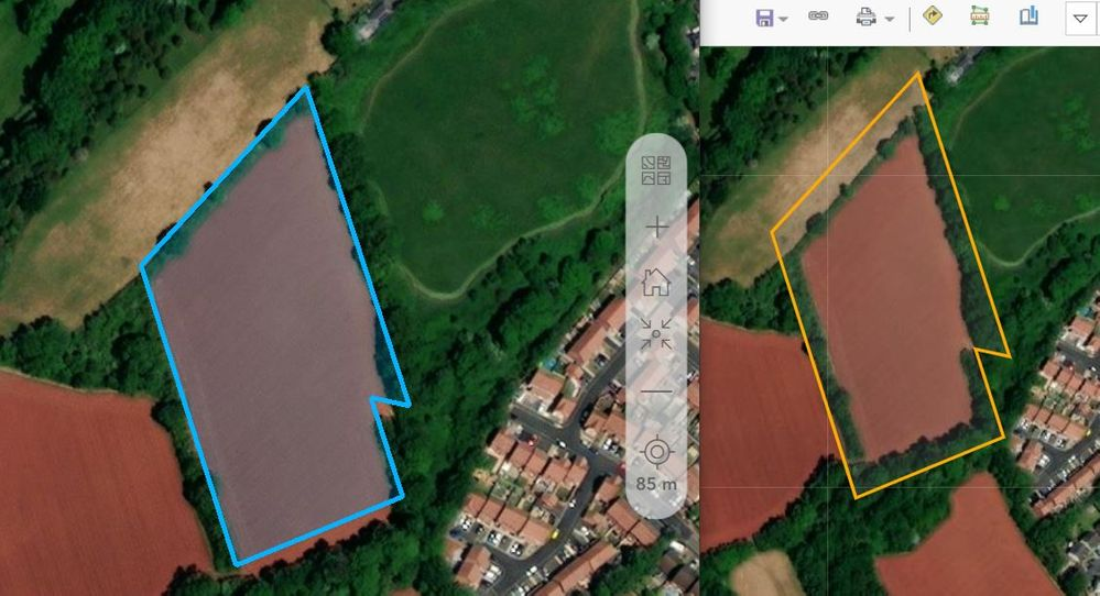 Side by side comparison of Survey123 beta submission (left) vs. appearance in AGOL webmap (right)