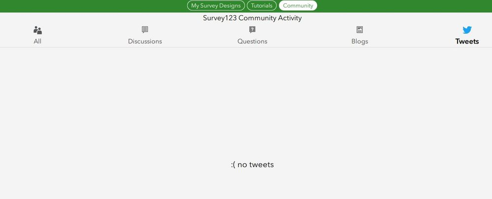 Connect Community tab frown face no tweets/items.