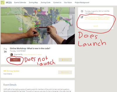 Illustration of problem with ArcGIS Hub event page design for launching online events.