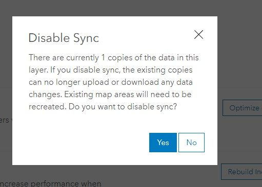 disable sync warning message
