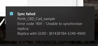Sync failed message in Windows Collector