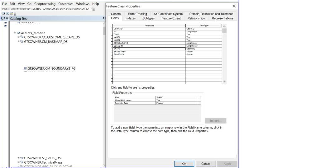 ArcCatelog table descirption